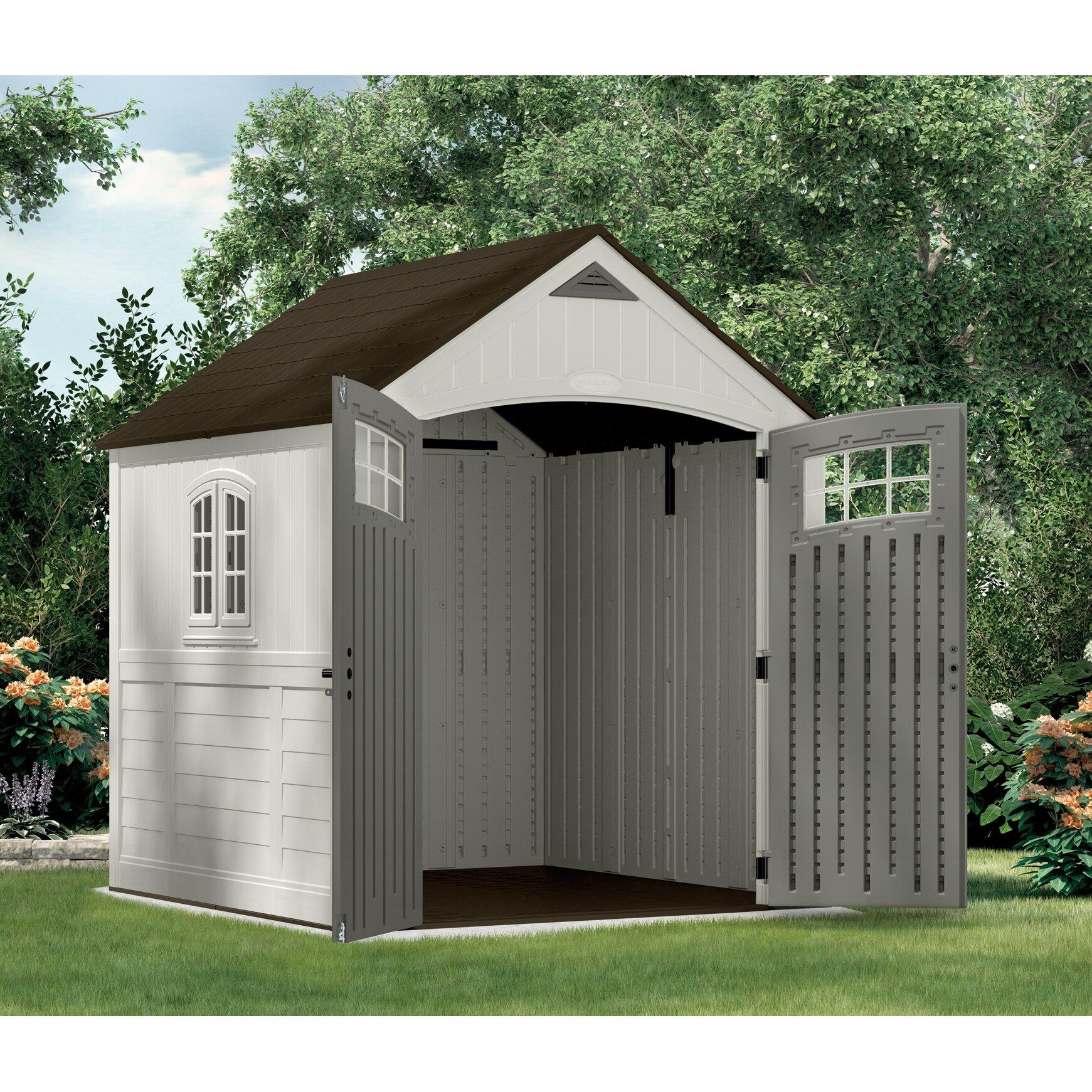 Suncast cascade 7 ft w x 7 ft d plastic storage shed for Garden shed 7 x 5