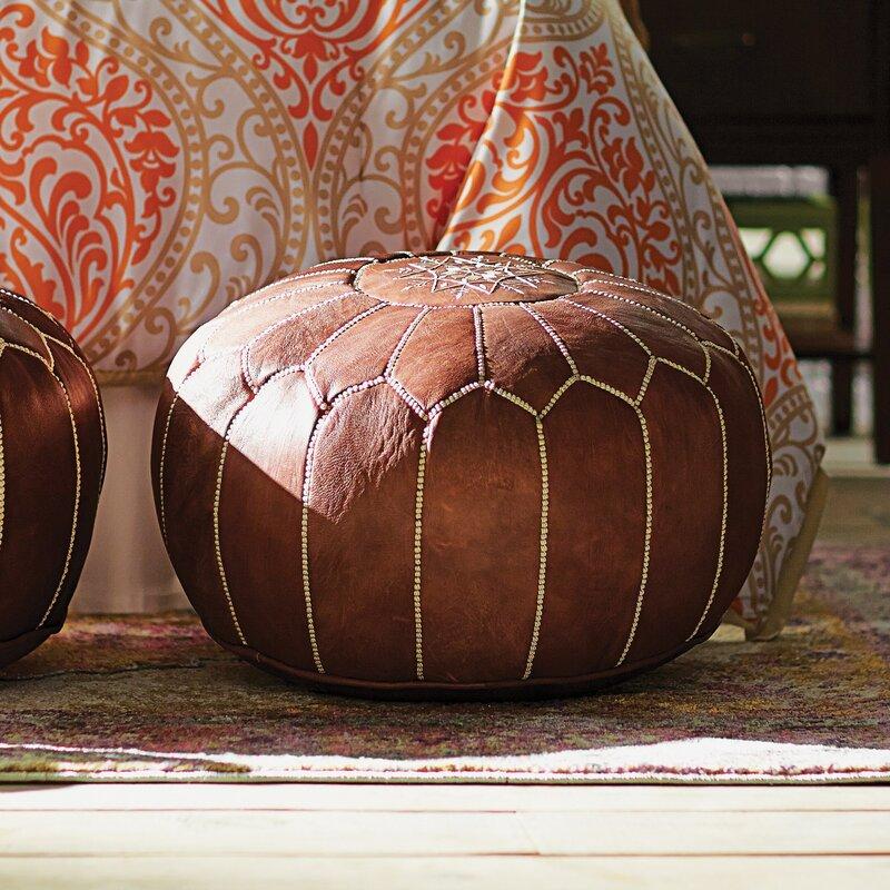 Mistana Carolos Pouf Leather Ottoman & Reviews | Wayfair