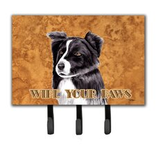 Border Collie Wipe Your Paws Leash Holder and Key Hook by Caroline's Treasures