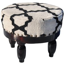 Upholstered Round Ottoman by Herat Oriental