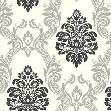"""Black and White Ogee 27' x 27""""  Damask Embossed 3D Roll Wallpaper"""