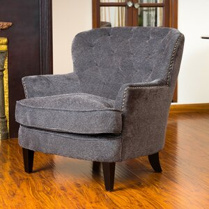 Parmelee Tufted Upholstered Linen Wing back Chair by Lark Manor