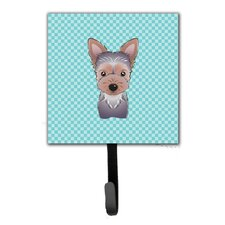 Checkerboard Yorkie Puppy Leash Holder and Wall Hook by Caroline's Treasures