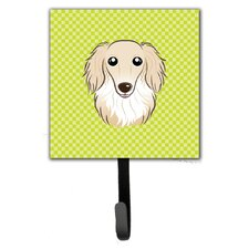 Checkerboard Longhair Creme Dachshund Leash Holder and Wall Hook by Caroline's Treasures