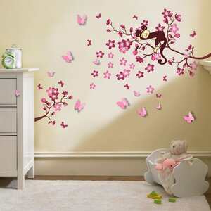 Monkey and 3D Butterfly Wall Sticker