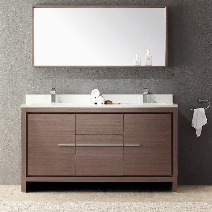 Allier 60 double modern bathroom vanity set with mirror for All modern bathroom vanity