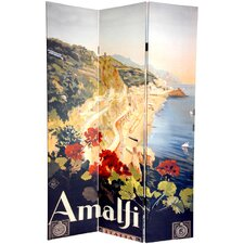 72 x 48 Double Sided Amalfi and Riviera 3 Panel Room Divider by Oriental Furniture