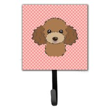Checkerboard Chocolate Brown Poodle Leash Holder and Wall Hook by Caroline's Treasures