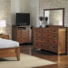 Castro 10 Drawer Double Dresser with Mirror by Loon Peak