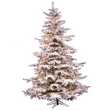 7.5' White Artificial Christmas Tree with 750 Clear Lights with Stand