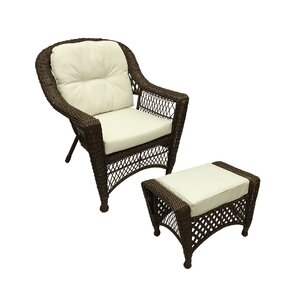 Superb Somerset 2 Piece Resin Wicker Patio Chair And Ottoman Furniture Set