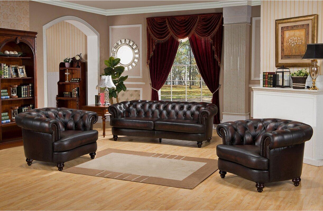 Amax Roosevelt 3 Piece Leather Living Room Set & Reviews | Wayfair