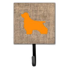 Cocker Spaniel Burlap and Orange Leash Holder and Wall Hook by Caroline's Treasures