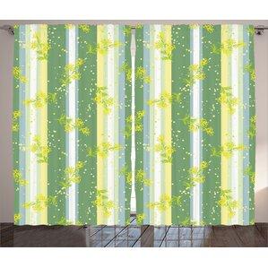 Flower Decor Room Darkening Rod Pocket Curtain Panels (Set Of 2)