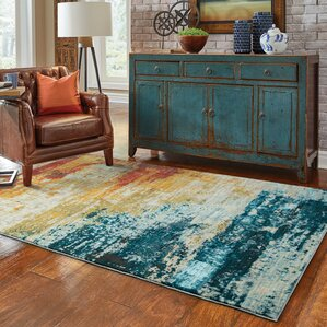 Modrest Abstract Blue/Red Area Rug