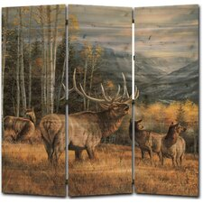 68 x 68 Meadow Music Elk 3 Panel Room Divider by WGI-GALLERY