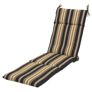 Sachiko Reversible Stripe Outdoor Chaise Lounge Cushion With Ties