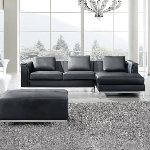 3 piece leather living room set oslo 3 leather living room set amp reviews allmodern 24609