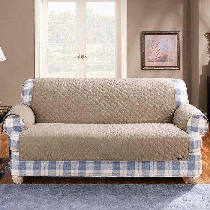Sure Fit Cotton Duck Furniture Friend Box Cushion Loveseat Slipcover U0026  Reviews | Wayfair