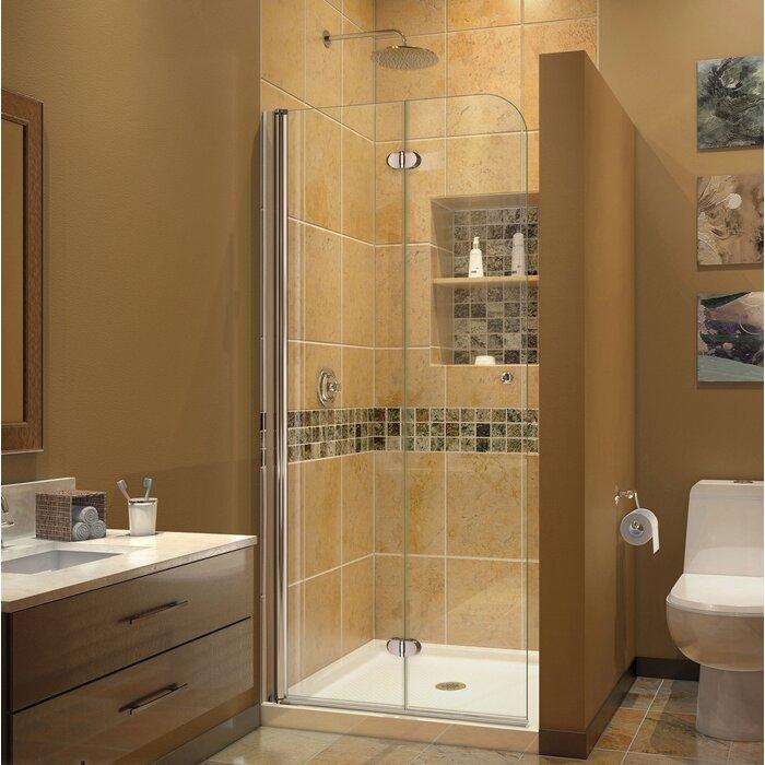bathroom glass doors. Aqua Fold 29 5  x 72 Clear Glass Shower Door Bathtub Doors You ll Love Wayfair
