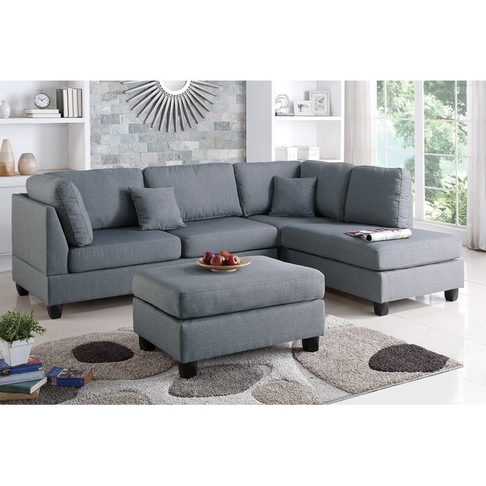 Poundex Bobkona Dervon Reversible Sectional U0026 Reviews | Wayfair