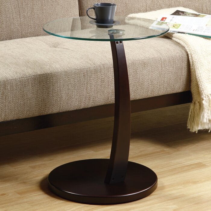 Monarch Specialties Inc. Bentwood Tempered Glass End Table U0026 Reviews |  Wayfair