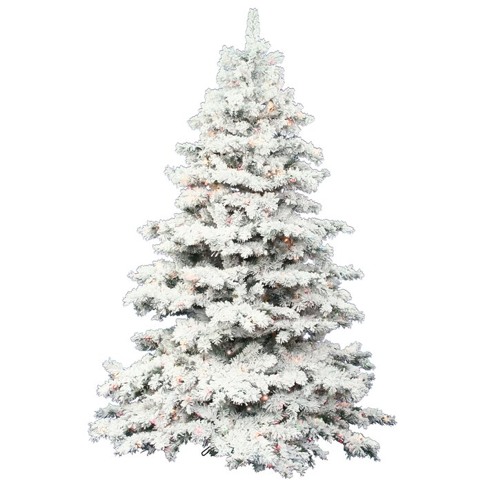 the holiday aisle flocked alaskan 75 white artificial christmas tree with 900 dura lit clear lights with stand reviews wayfair - 75 White Christmas Tree