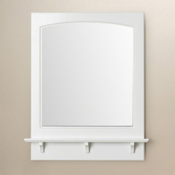 Wall Mirror With Shelf winston porter rectangle white wall mirror with shelf & reviews