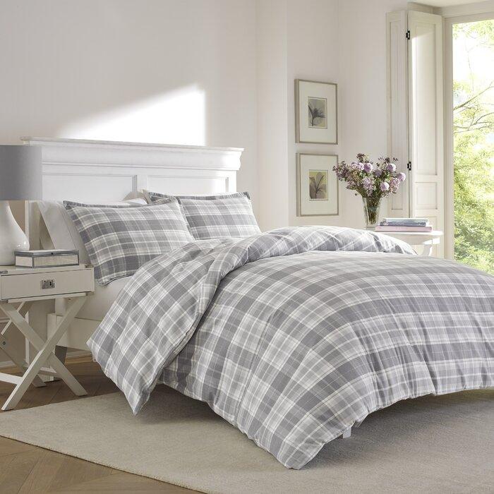 laura ashley home mulholland plaid flannel duvet set by laura ashley home u0026 reviews wayfair
