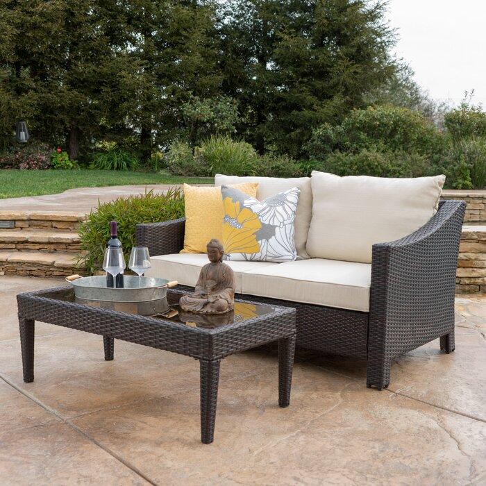 Home Loft Concepts Dragoon 2 Piece Rattan Sofa Set With Cushions U0026 Reviews    Wayfair