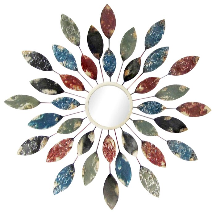 Sunburst Wall Mirror andover mills sunburst leaves wall mirror & reviews | wayfair