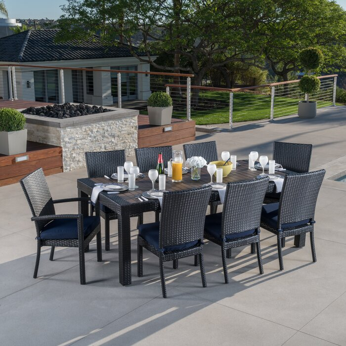 Evansville 9 Piece Outdoor Dining Set with Cushion - Patio Dining Sets You'll Love Wayfair