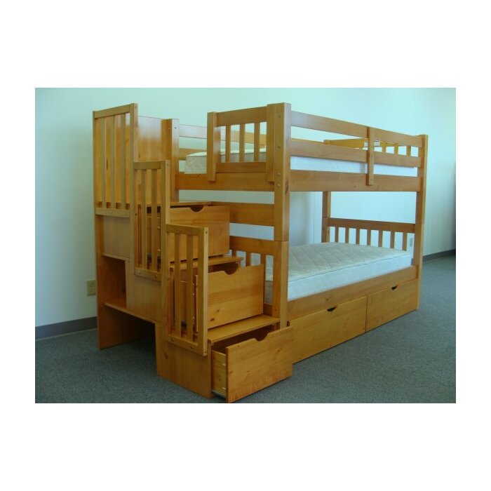 bedz king twin bunk bed with storage reviews wayfair - Bunk Bed Frames