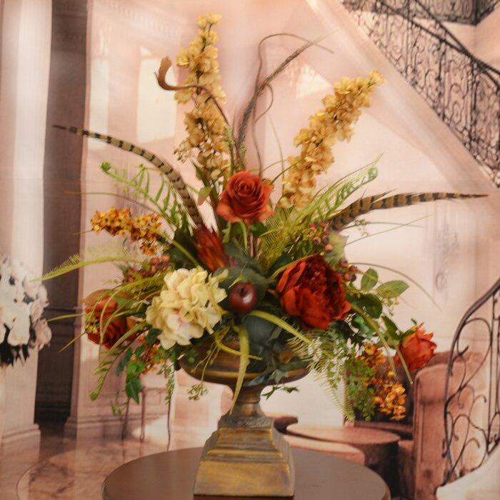 floral home decor large silk flower arrangement with feathers reviews wayfair - Silk Arrangements For Home Decor