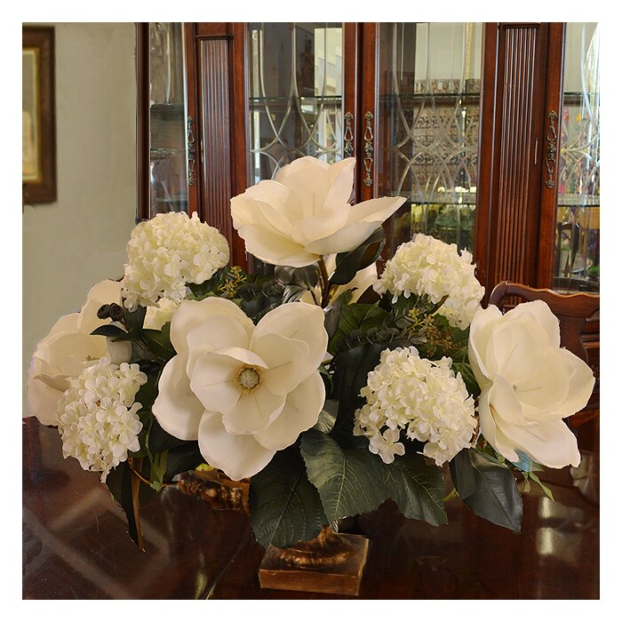 Floral Home Decor Magnolia And Hydrangea Large Silk Flower Arrangement Reviews Wayfair