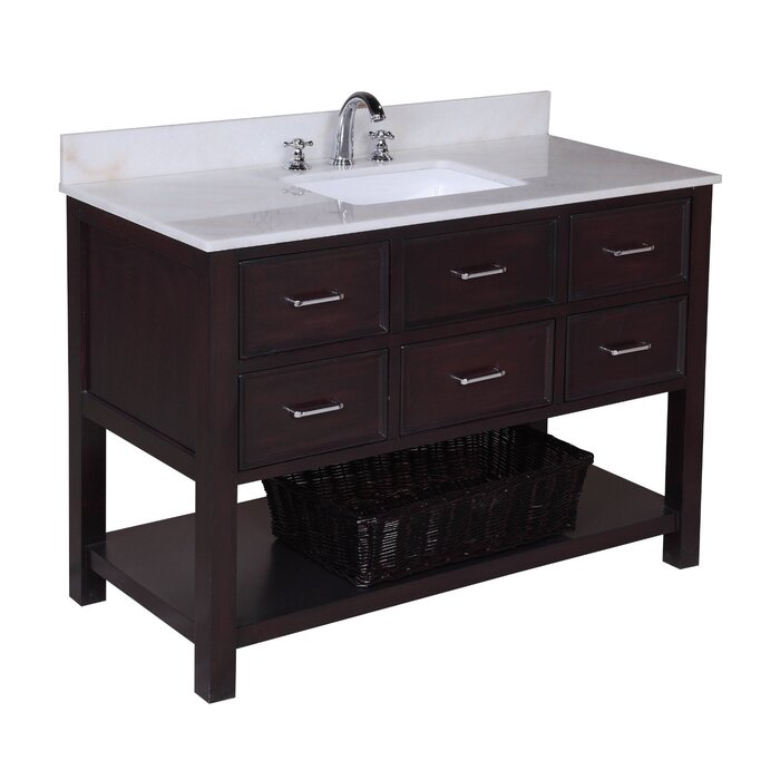 "Custom Bathroom Vanities Nh kbc new hampshire 48"" single bathroom vanity set & reviews 