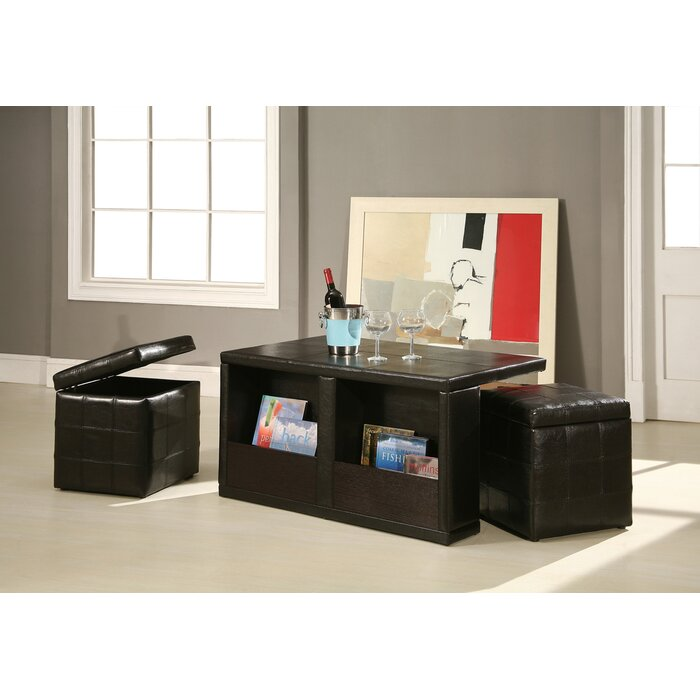 Red Barrel Studio Trout River 3 Piece Coffee Table And Ottoman Set U0026  Reviews | Wayfair
