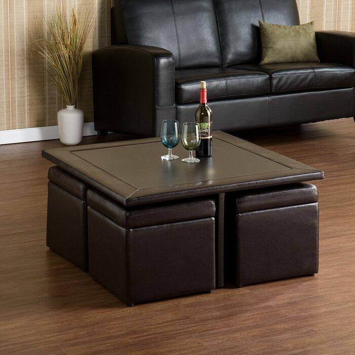 Red Barrel Studio Schooner Coffee Table With Nested Stools Reviews Wayfair