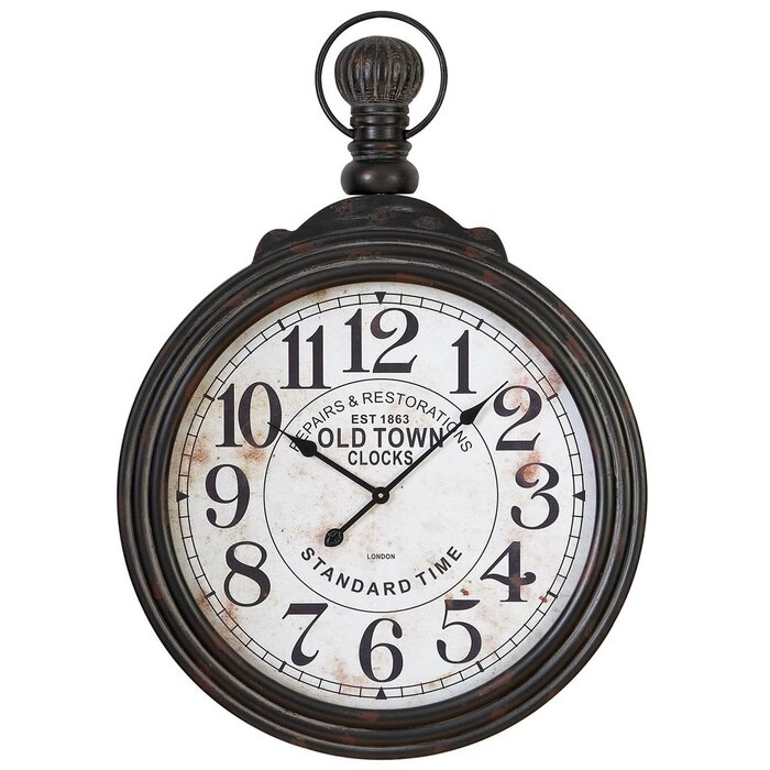 Black And White Wall Clock darby home co oversized pocket watch wall clock & reviews | wayfair