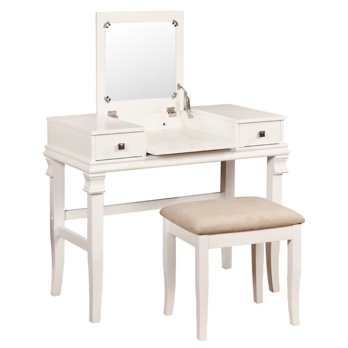 chair for vanity table. Leister Vanity Set with Mirror Makeup Tables and Vanities You ll Love  Wayfair