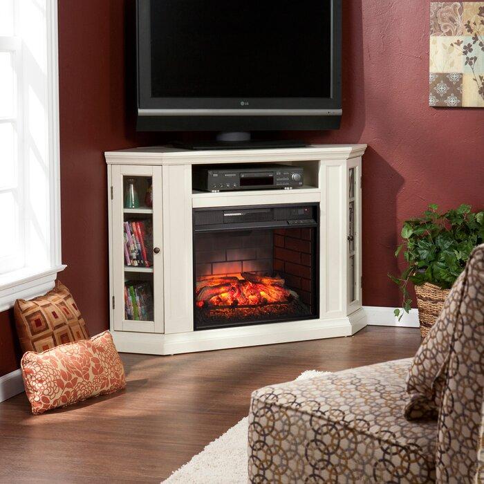 alcott hill dunminning corner tv stand with fireplace u0026 reviews wayfair