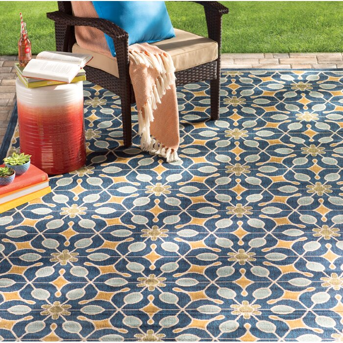 Charlton Home Lewis Navy Indoor/Outdoor Area Rug & Reviews | Wayfair