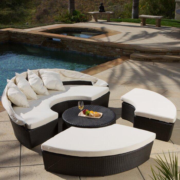 Wade Logan Sancho Canopy 4 Piece Lounge Seating Group With Cushion U0026  Reviews   Wayfair