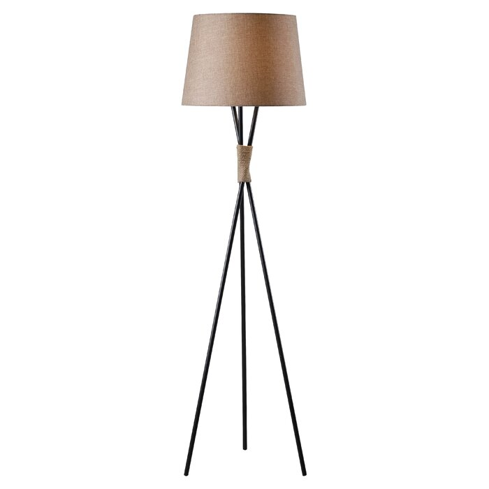 wooden tripod floor lamp with cream shade street spotlight uk canada
