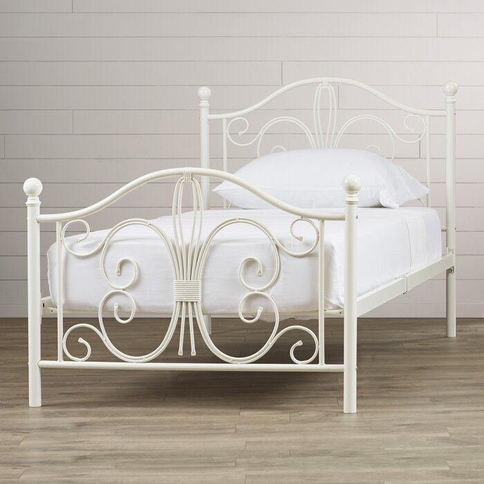 White Metal Bed Frames august grove bombay platform bed & reviews | wayfair