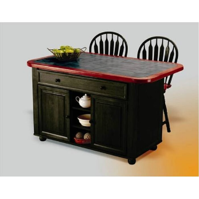 Lockwood Kitchen Island with Ceramic Tile Top and Stools  sc 1 st  Wayfair : kitchen cart with stools - islam-shia.org