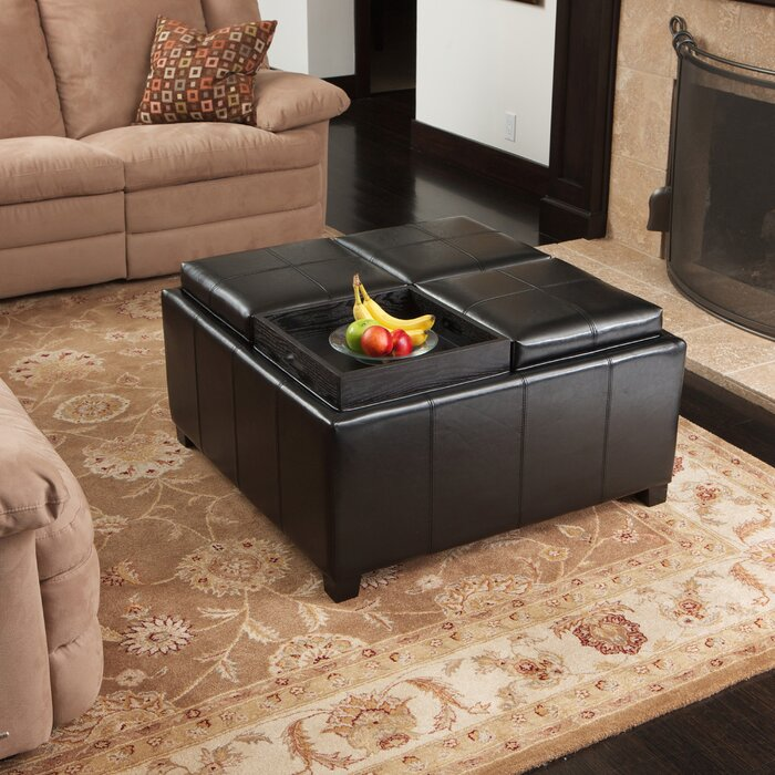 Dandridge Leather Tray Storage Ottoman - Storage Ottomans & Poufs You'll Love Wayfair