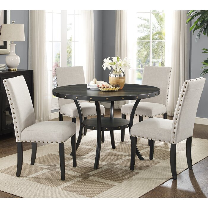 Roundhill Furniture Biony Espresso 5 Piece Dining Set Reviews