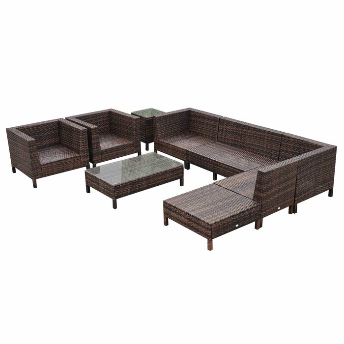 Outsunny 9 Piece Sectional Set with Cushions & Reviews | Wayfair