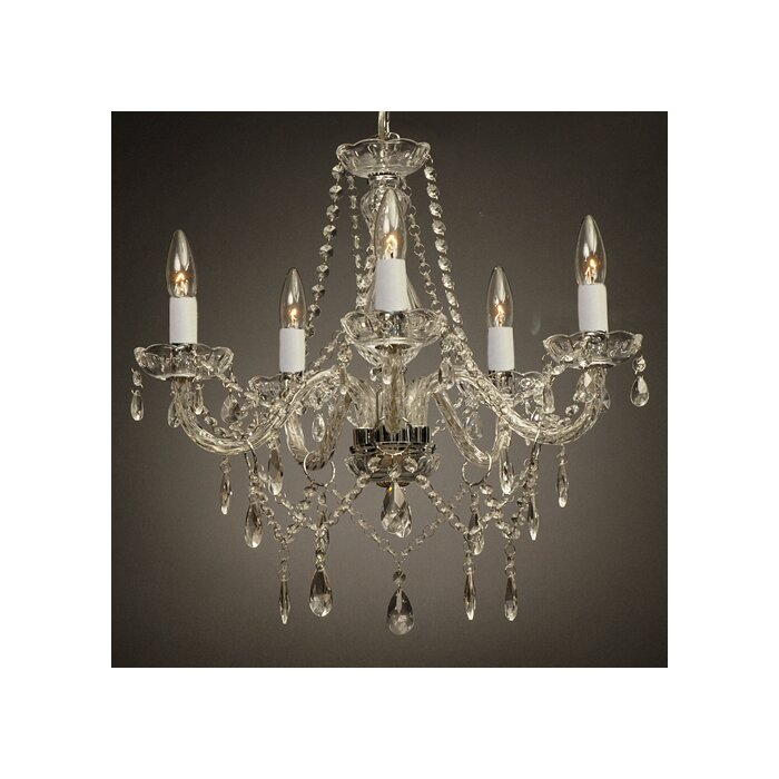 Holton 5 Light Silver Crystal Chandelier Chandelier For